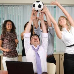 voetbal op kantoor