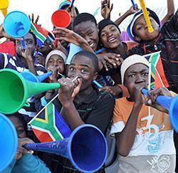 Vuvuzela's aan het werk in Zuid-Afrika