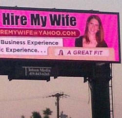 'Hire My Wife' billboard