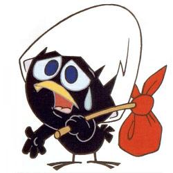 Calimero, le poussin noir portant sur sa tête sa coquille d'œuf brisée
