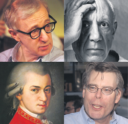 Woody Allen, Pablo Picasso, Wolfgang Amadeus Mozart & Stephen King