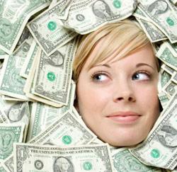 vrouw geld dollars