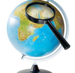 wereldbol vergrootglas zoeken