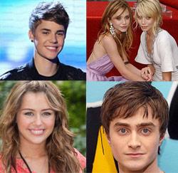 Justin Bieber - Mary-Kate & Ashley Olsen - Miley Cyrus - Daniel Radcliffe
