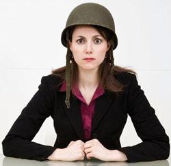 vrouw helm