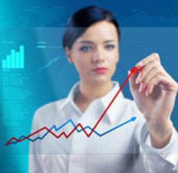 zakenvrouw grafiek
