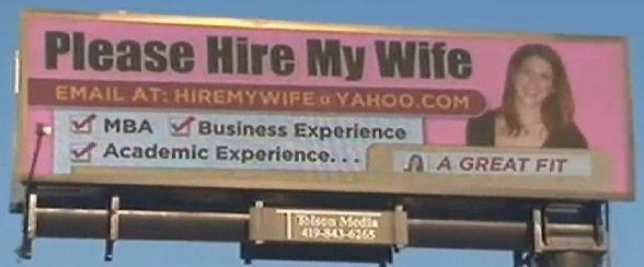 Hire My Wife billboard