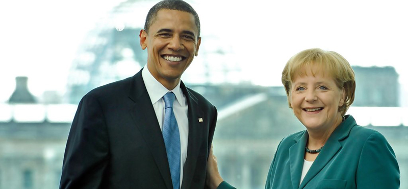 Barack Obama en Angela Merkel