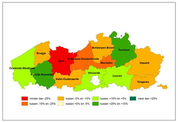 Kaart - Evolutie van het aantal ontvangen vacatures per regio