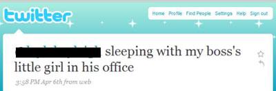Had seks met de dochter van de baas in zijn kantoor - Twitter tweet