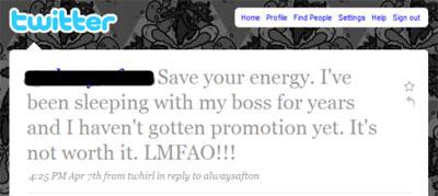 Spaar je krachten. Ik heb al jaren seks met m'n baas en ik heb nog steeds geen promotie gekregen - Twitter tweet