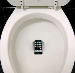 smartphone in toilet